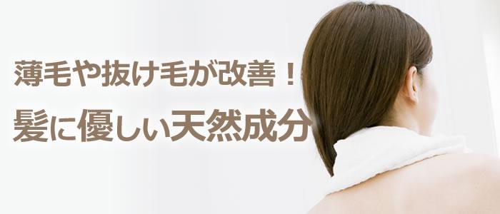 薄毛・抜け毛が気になる方も安心! 天然成分が髪に優しい